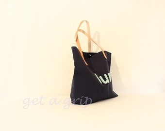 "Canvas Tote...""LUV"" Petite Navy Blue tote bag with PERSONALIZED leather label"