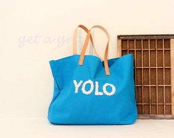 """Canvas Tote...""""YOLO"""" CERULEAN tote bag with PERSONALIZED leather label"""