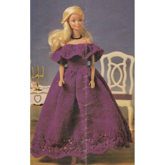 Knitting Patterns For Barbie Dolls : Vintage Barbie Doll Ballgown Knitting Pattern 12 Inch Dolls