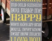 You are my Sunshine -typography word art, hand painted, cottage chic subway art sign