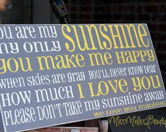 You are my Sunshine- customize it- hand painted- horizontal sign