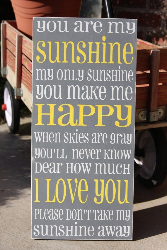 You are my Sunshine -typography word art, hand painted shabby chic subway art , cottage style sign