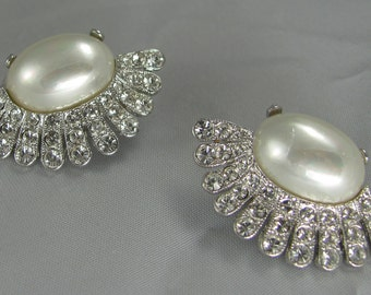 Holiday, Wedding Pearl and Crystal Sparkling Vintage Earrings