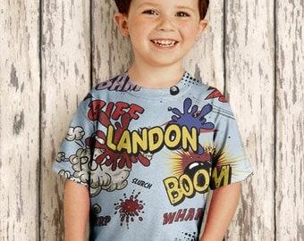 Personalized Boys Shirt, Comic Boom Pow Superhero Birthday Top, Childrens Clothing