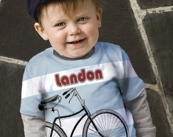 Personalized Boys Bicycle Shirt,  Blue Stripe T-Shirt, Children's Clothing