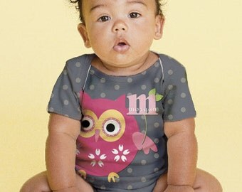 Owl Baby Shirt, Personalized Pink Owl Infant Snap-Shirt, Custom Creeper
