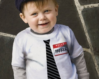 Personalized New Guy Tie T-Shirt,  Boys Nerd Shirt