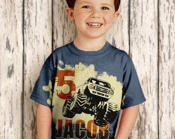 Personalized Monster Truck Shirt, Boys Birthday T-Shirt, Top