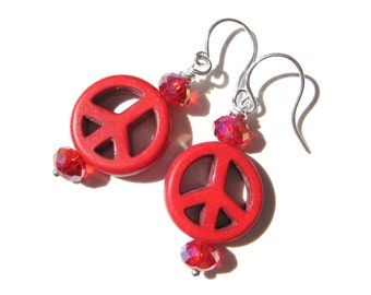 PEACEFUL RED- Beaded Earrings with Sparkling Crystals and Howlite Turquoise Peace Signs