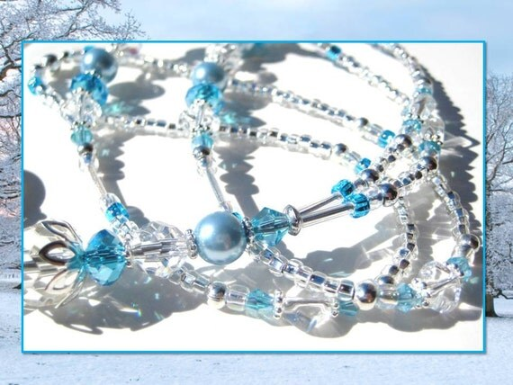 CRYSTAL BLUE ICE- Glass Beaded Id Lanyard and Badge Holder- Crystal Glass Beads, Blue Pearls, and Swarovski Crystals
