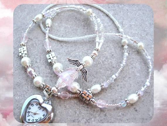 ANGELIC HEART- Gorgeous Glass Beaded Id Watch Lanyard- White Pearls, Swarovski Crystals, Tibetan Silver Cross Beads, and Quartz Watch