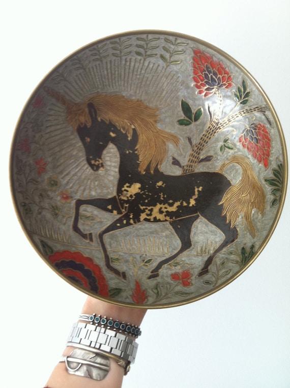 Vintage UNICORN Brass Dish Bowl Decorative