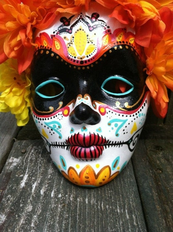 Day Of The Dead Hand Tattoo: Day Of The Dead Hand Painted Decorative Mask Dia De By