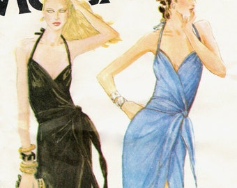 Bob Mackie halter wrap dress pattern -- McCall's 6575