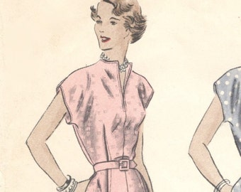 Vintage 1940s day dress pattern -- Vogue 6693