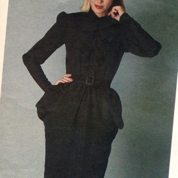 1980 Nina Ricci black ruffled dress pattern Vogue 2582
