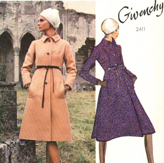 Early 1970s Givenchy A-line coat pattern -- Vogue Paris Original 2411