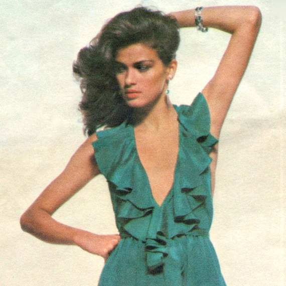 Gia Carangi late 1970s backless ruffled halter disco evening dress pattern by Stan Herman -- Vogue American Designer 2010