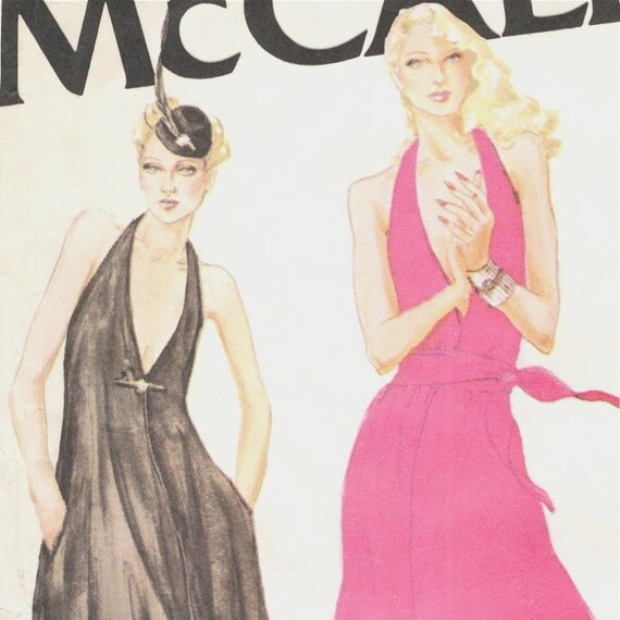 Late 1970s disco T-back halter evening dress pattern -- McCall's 6576