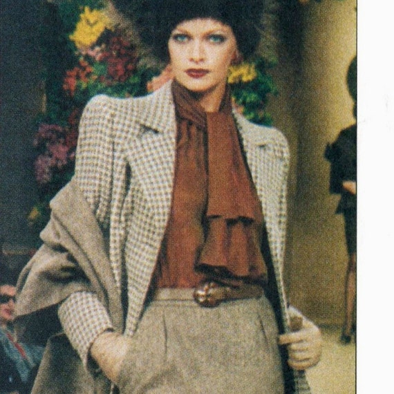 Yves Saint Laurent couture skirt suit & shawl pattern -- Vogue Paris Original 2036