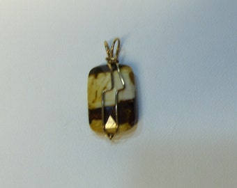 Handcrafted Moukite Jasper Pendant / Wire Wrapped 14K Gold filled Jewelry