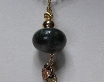 OOAK Ocean Jasper Pendant w/ Black Hills Gold Accent // 14K Gold filled Wire Wrapped Jewelry