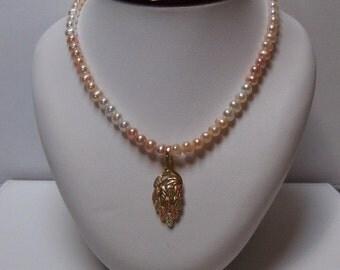 Tri Color Freshwater Pearl Necklace w/ Black Hills Gold Enhancer