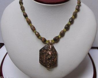 OOAK Hand strung Leopard Skin Jasper & Serpentine Necklace w/ Black Hills Gold Accent