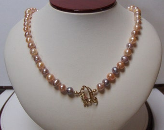 OOAK Hand Knotted Freshwater Pearl & Black Hills Gold Necklace // June Birthstone