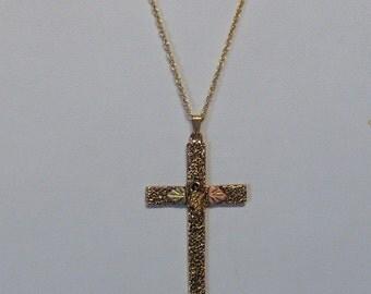 Whitaker's Black Hills Gold Antiqued Cross Pendant