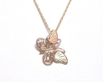 Whitaker's Black Hills Gold Butterfly Slide Pendant