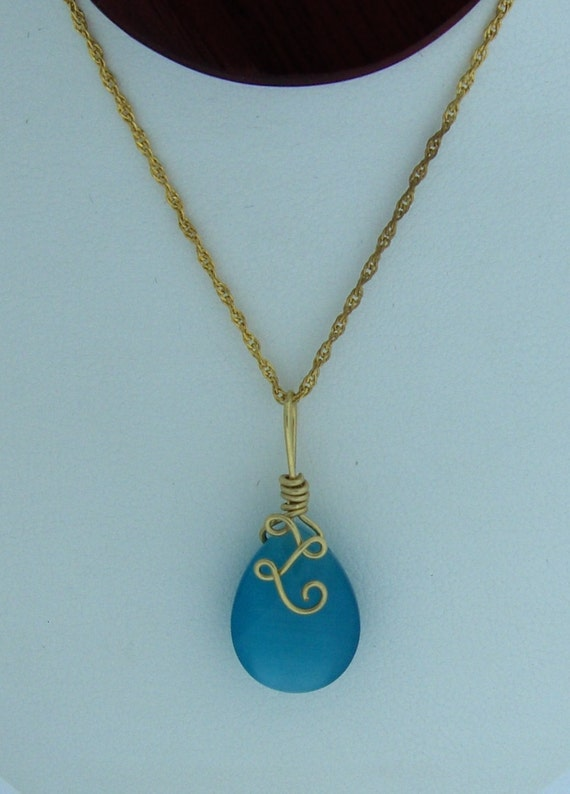 Handcrafted OOAK Blue Cats Eye Pendant/ 14K Gold filled Wire Wrapped Gemstone Jewelry