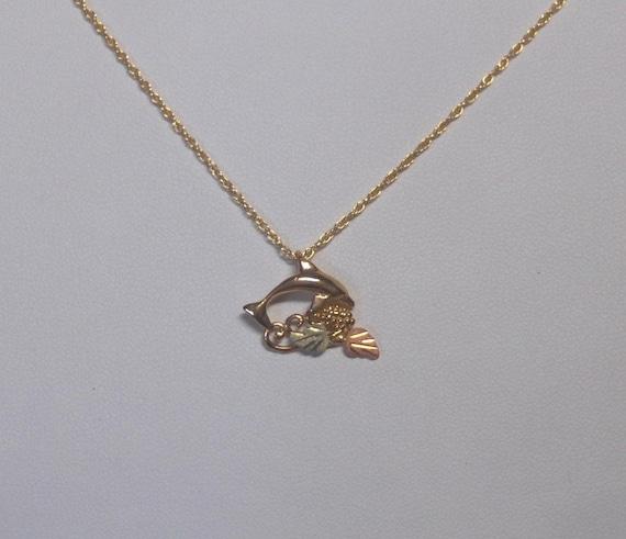 Whitaker's Black Hills Gold Petite Dolphin Pendant