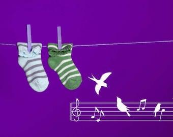 Song Birds, Music Wall Decal, Birds on a Wire, Musical, Bird Decor, Love Birds, Treble Clef, Cute, Quaint, Nursery Artwork, Home Art