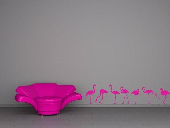 Pink Flamingos, Pink Flamingo Decor, Flock of Birds, Bird Decal, Vinyl Wall Sticker, Home Decor, Tropical Artwork, Office, Kitchen Decor