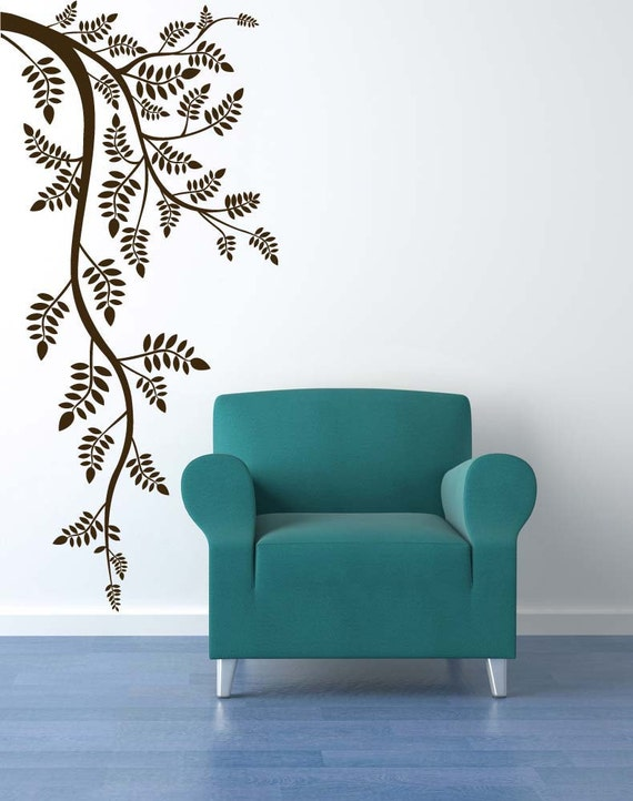 Decorative Branches, Fern Art, Vertical Wall Art, Branch Decor, Wall Decal, Leaf Decor, Leaves, Sticker, Vinyl, Wall, Home, Office Decor