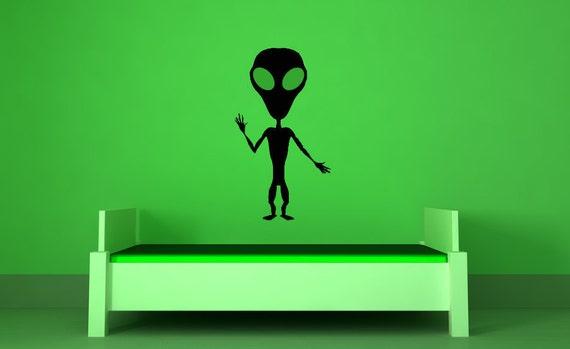 Alien Wall Art, Alien Decal, Alien Decor, Outer Space, UFO, Extraterrestrial, Vinyl, Sticker, Wall, Home, Nursery, Dorm, Science Decor