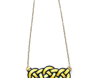 Nautical necklace, yellow necklace, yellow and navy necklace, knotted necklace, statement necklace, sporty necklace, sailor knot, gift idea