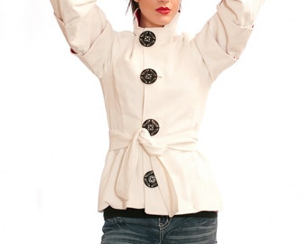Amelia Short Trench Jacket - warm, seasonal, winter, spring, cotton, wool, silk, large buttons, high collar, bell sleeves, casual, fitted