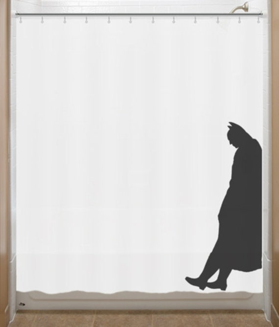 Leaning Batman Shower Curtain bathroom decor by SHOWERCURTAINS
