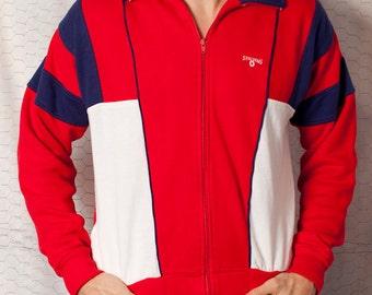 Vintage Spalding Sweatshirt Track Jacket - Red White and Blue