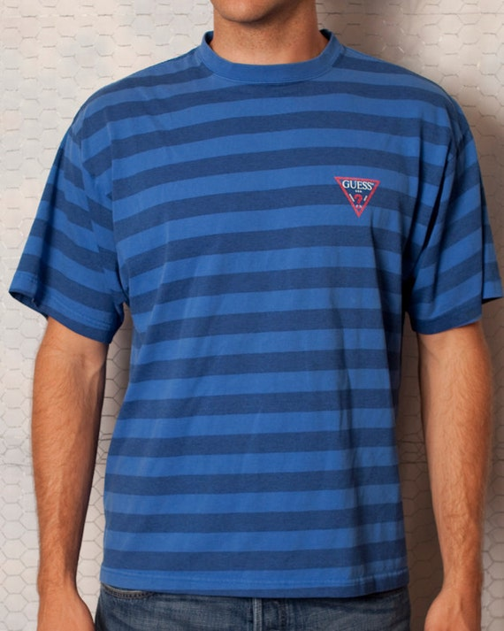 Vintage GUESS USA - Blue Striped Shirt - L