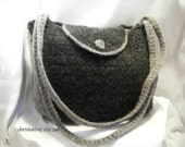 Felted Purse in Gray with Light Gray Trim - Classic Shape - Crochet Purse with 2 Shoulder Straps - Ready to ship - OOAK