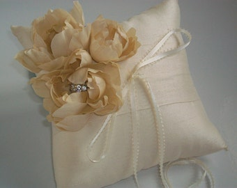 Ivory Ring Bearer Pillow, Silk Dupioni Flower Wedding Pillow, Crystal -Beaded Ring Pillow, Cream Wedding Pillow, Flower Ivory Ring Pillow