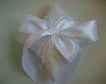 White Ring Bearer Pillow -White Wedding Pillow, Silk Dupioni and Satin, Bow, Wedding Pillow Ring Bearer, Wedding Ring Pillow Bridal SALE