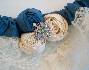 Lace Bridal Garter, Something Blue Rosette Garter Set, Crystal Wedding Garter- Lace Garter Set Throw Garter, Flower Garter, Garter Belt SALE