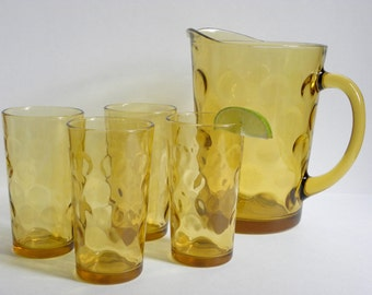 Amber Thumbprint Pitcher and Drinking Glasses