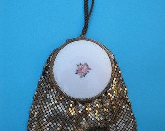 Vintage 1920s Flapper Goldtone Metal Mesh Vanity Bag with Enamel Guilloche Compact