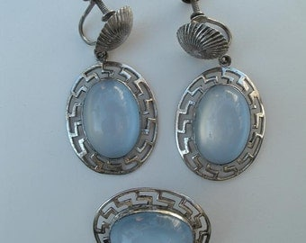Vintage Sterling Silver and Blue Opalite with the Look of Moonstone Brooch Pin and Matching Earrings