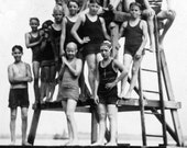 1920s Bathing Beach Black & White Photograph Showing Kids on a Swimming Platform, Geneva, Seneca Lake, Finger Lakes Region, Upstate New York
